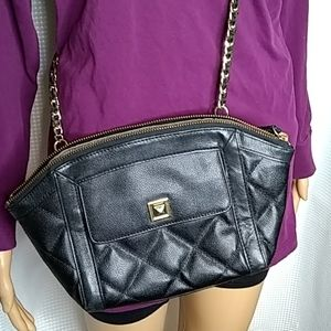 Talbot's quilted black leather crossbody bag